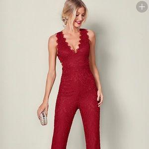 NWOT Venus Red Lace Jumpsuit